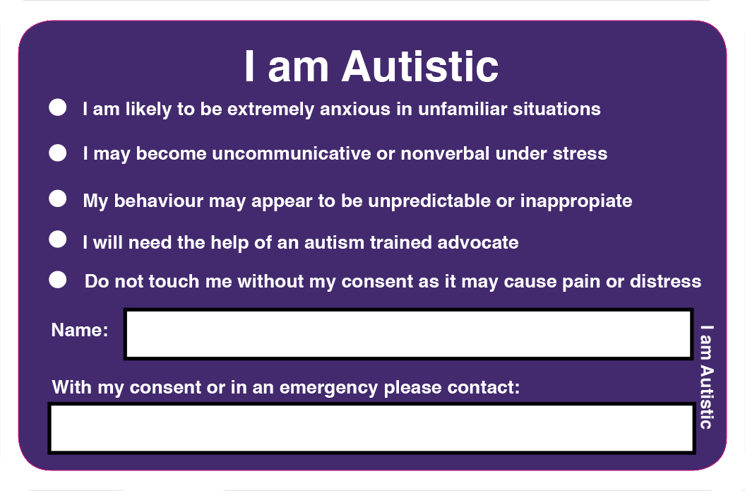 ARGH I am Autistic card back
